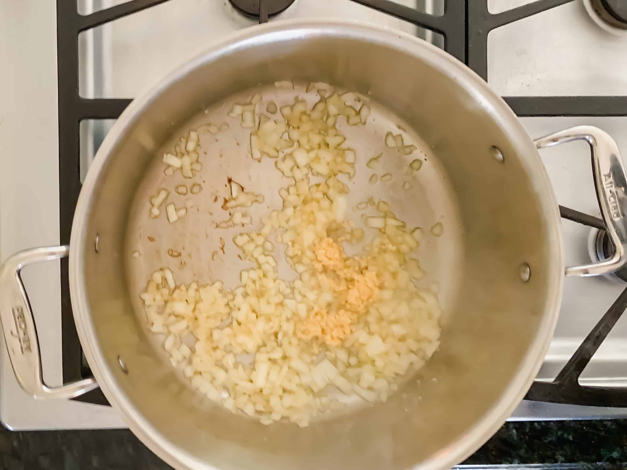 Sauteed onions and garlic in a pan