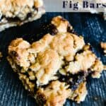 Close up of oatmeal fig bars on wooden background