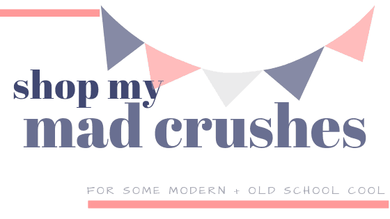 a graphic of streamers and shop my mad crushes header