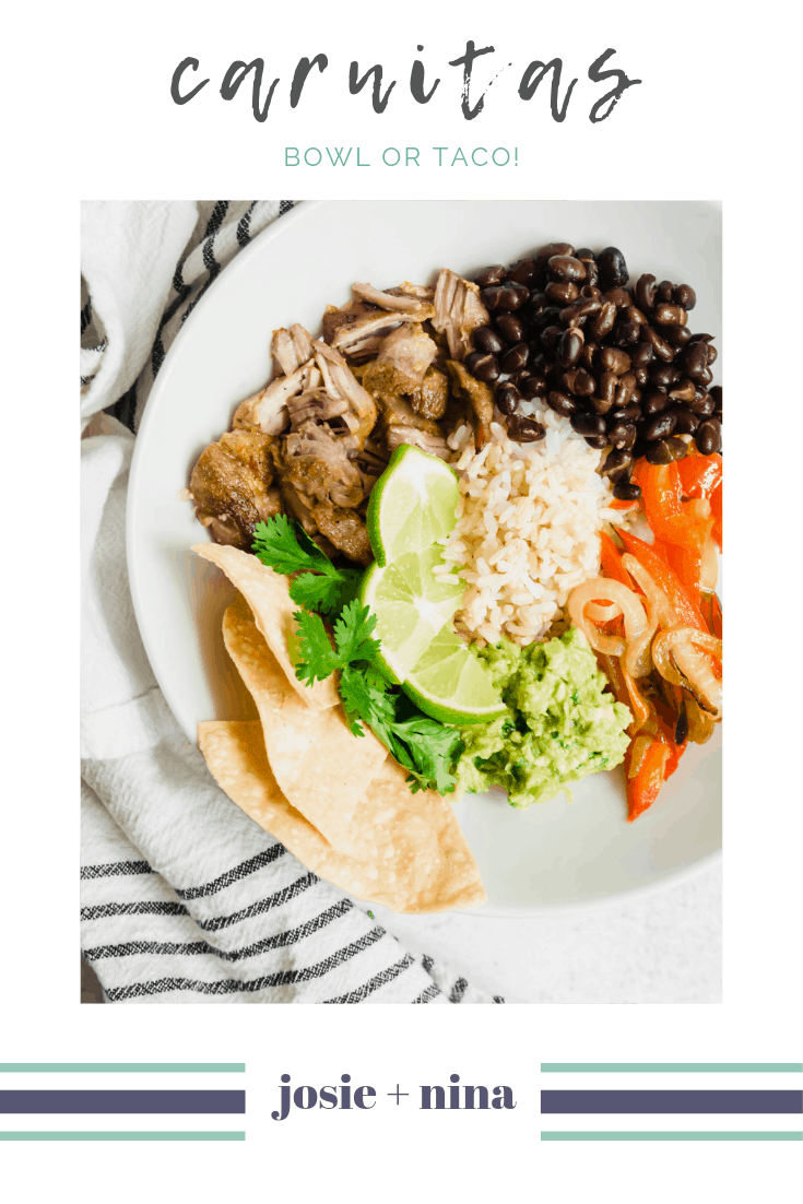 Carnitas in a bowl with beans and a headline of Carnitas