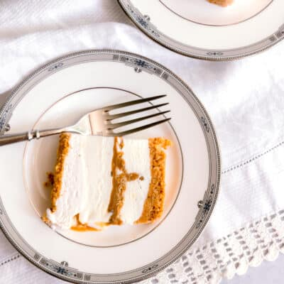 cut pieces of ice cream cake on plate with a white napkin and fork