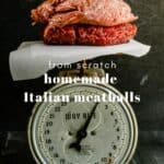 beef and pork on a scale for homemade Italian meatballs