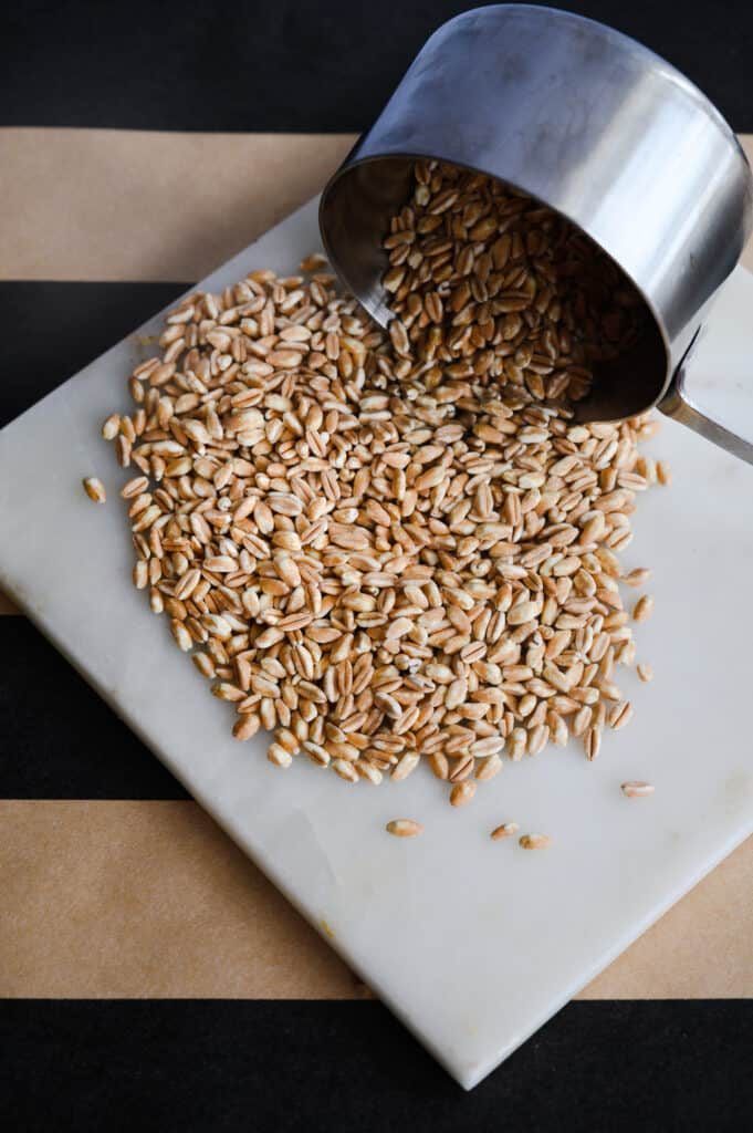 closeup of farro on a marble trivet dumped out of a measuring cup on a black and khaki wide striped horizontal background