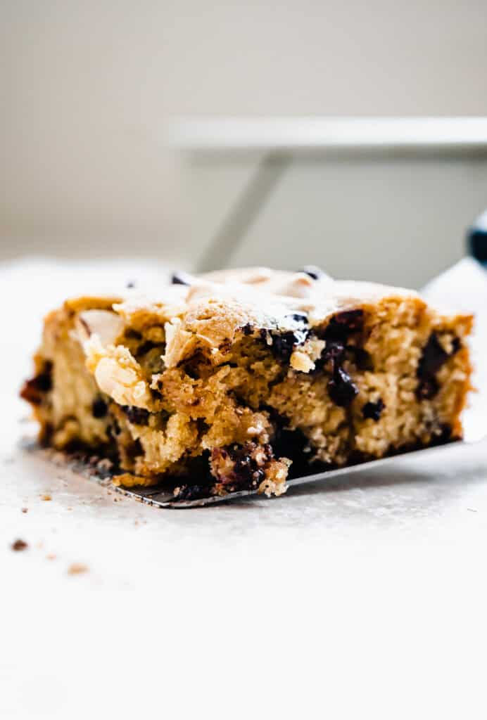 Close up of Salty Chocolate Chip Blondie on a spatula