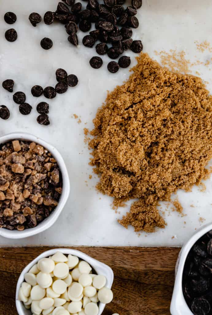 ingredients for chocolate chip blondies on a marble slab