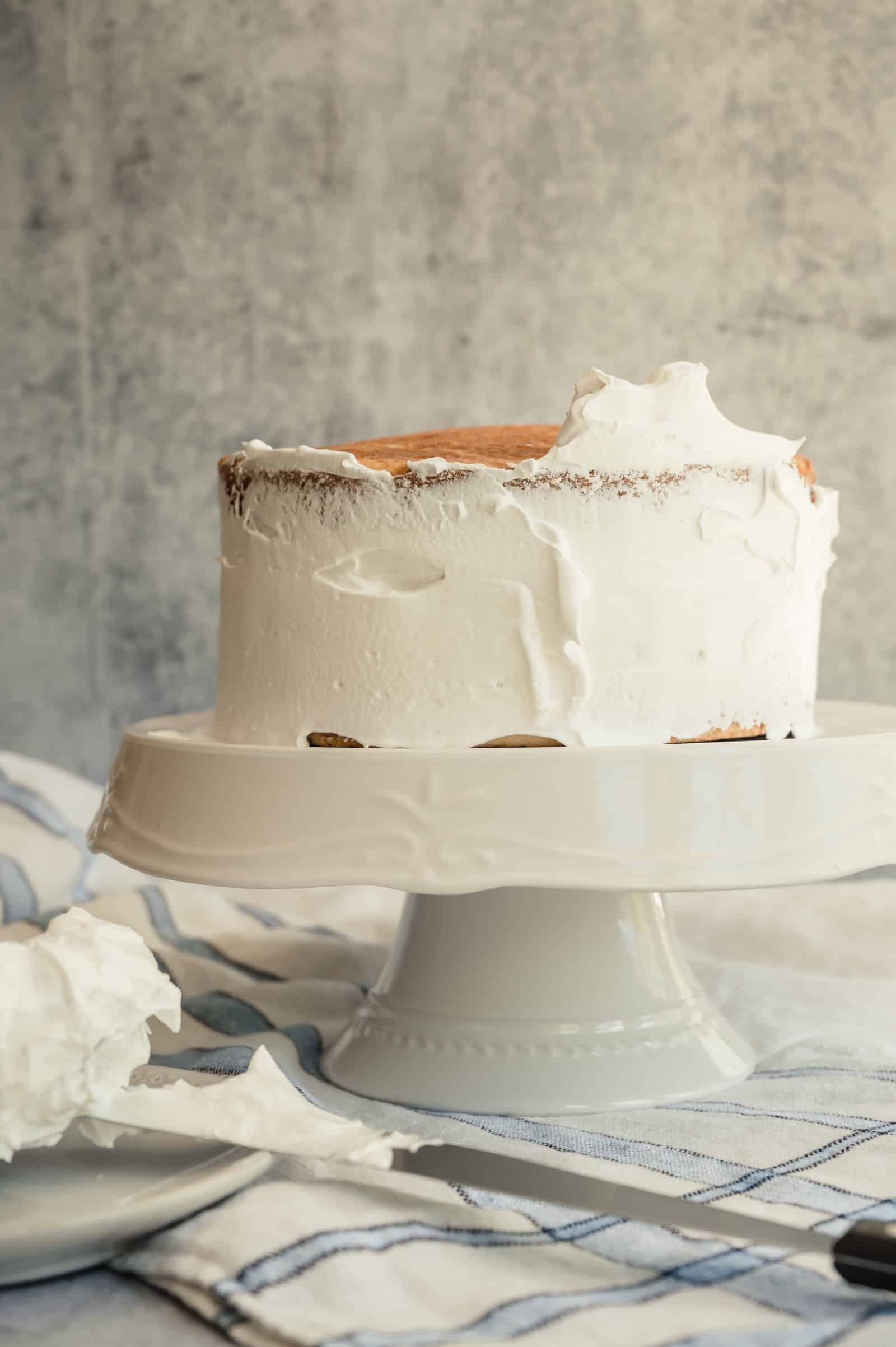 coconut cake frosted with crumb coat on a white platter