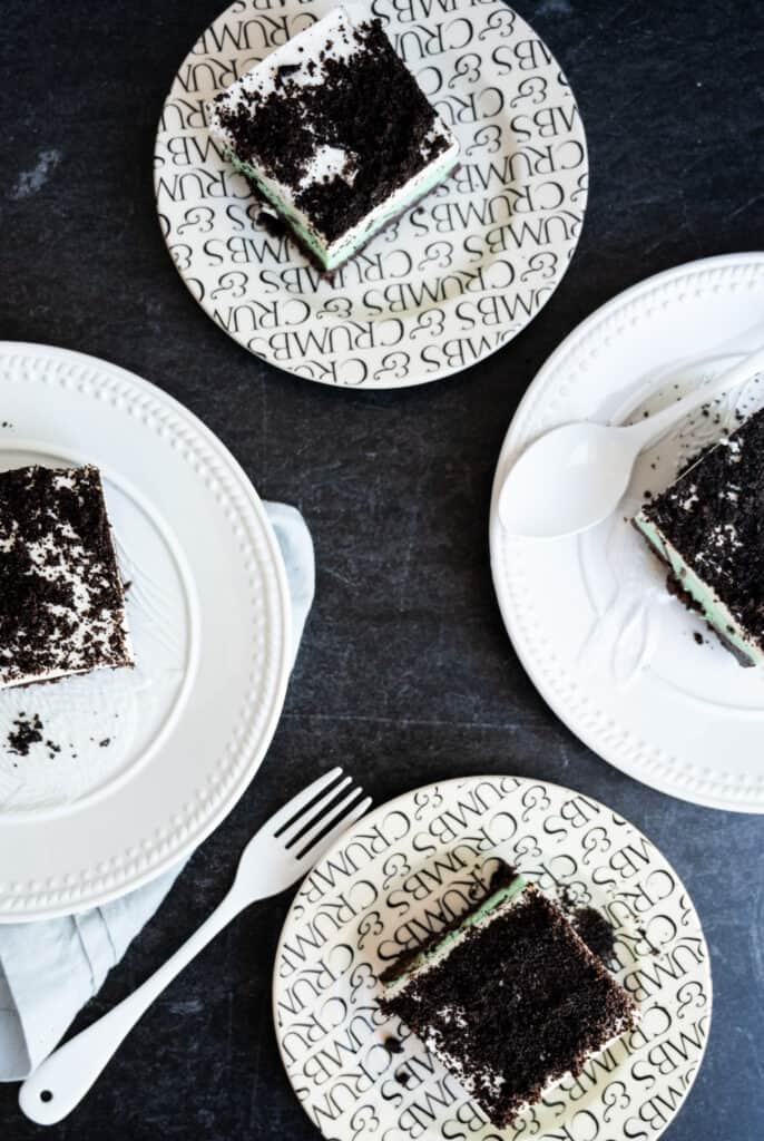 overhead shot of mint chocolate chip ice cream cake on a dark background with white fork and white spoon