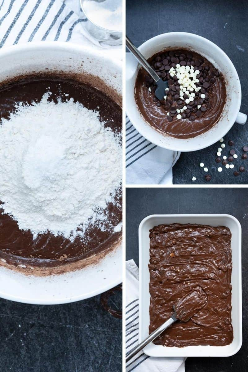 three images of brownies being made with adding flour to batter, adding in chocolate chips and spreading in pan