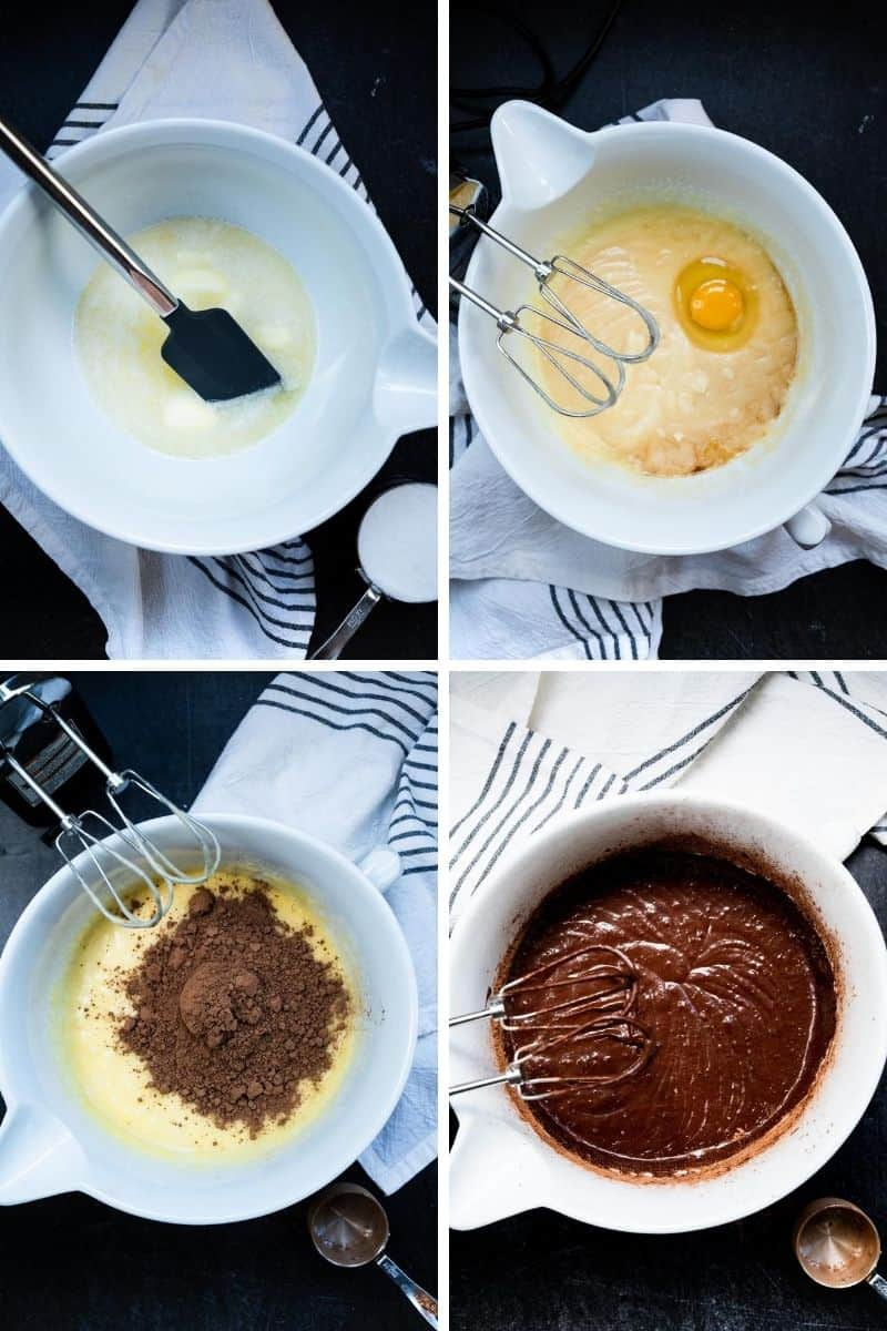 four overhead photos of process of making brownies from melted butter and sugar, to adding eggs, to cocoa powder and final mixing of batter