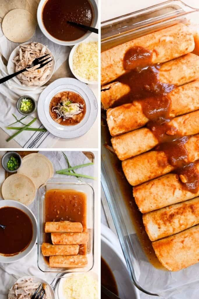 three images of enchiladas being made