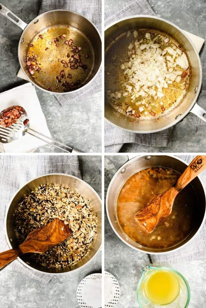 4 photos showing process of sauteing pancetta and onions