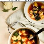 Pinterest image with words leftover turkey recipe turkey tortellini soup and image of a pot of soup