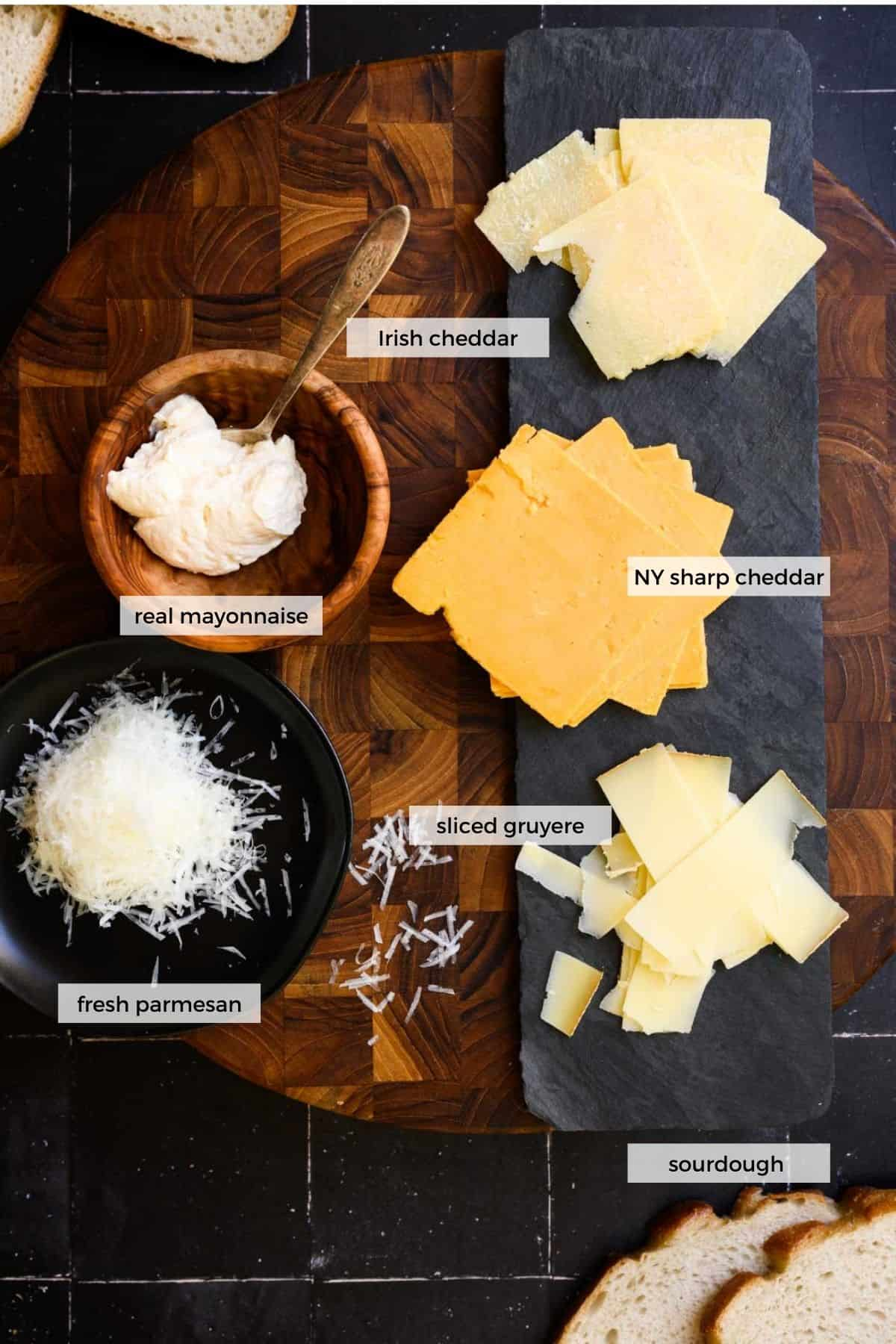 ingredients labeled to make a grilled cheese sandwich with parmesan.
