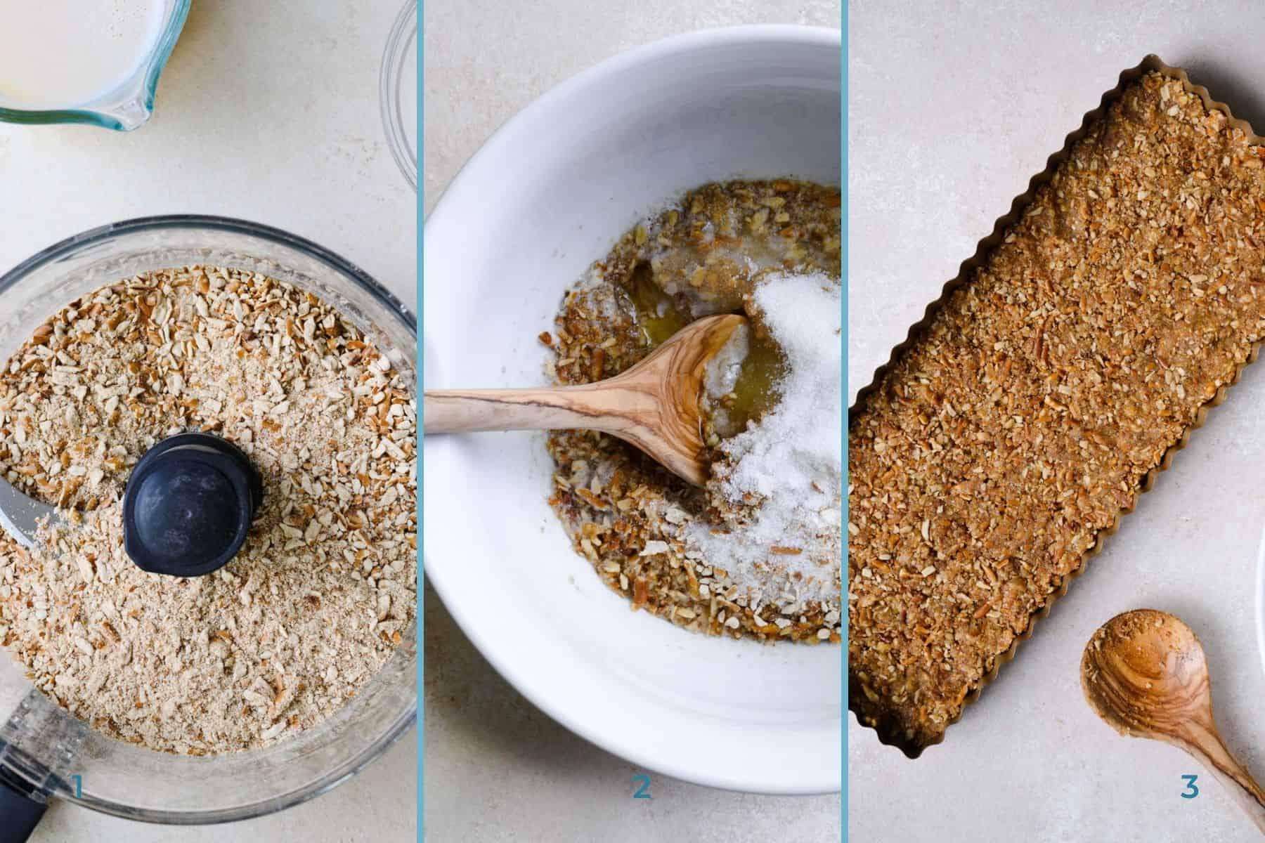 three steps to make a pretzel tart crust