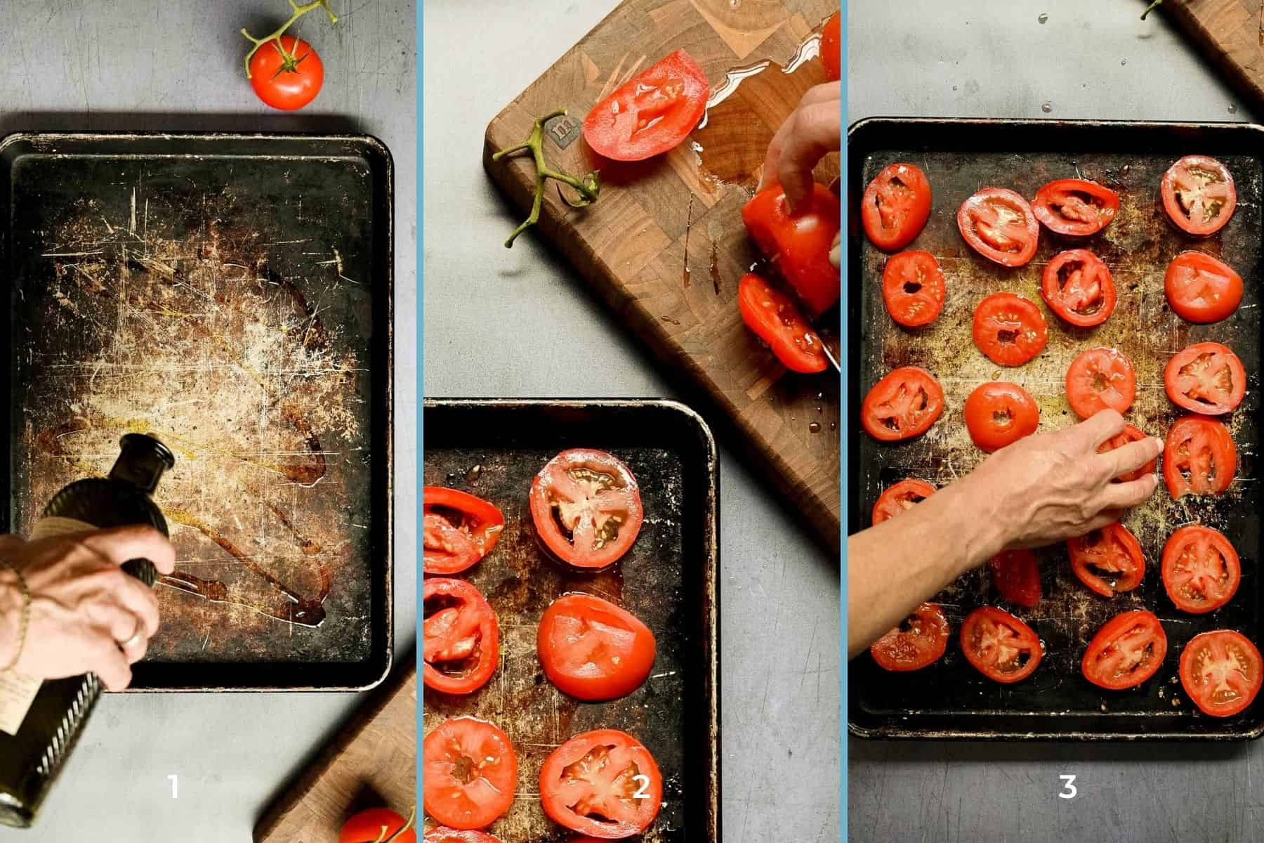 steps to preparing roasted tomatoes on a sheet pan