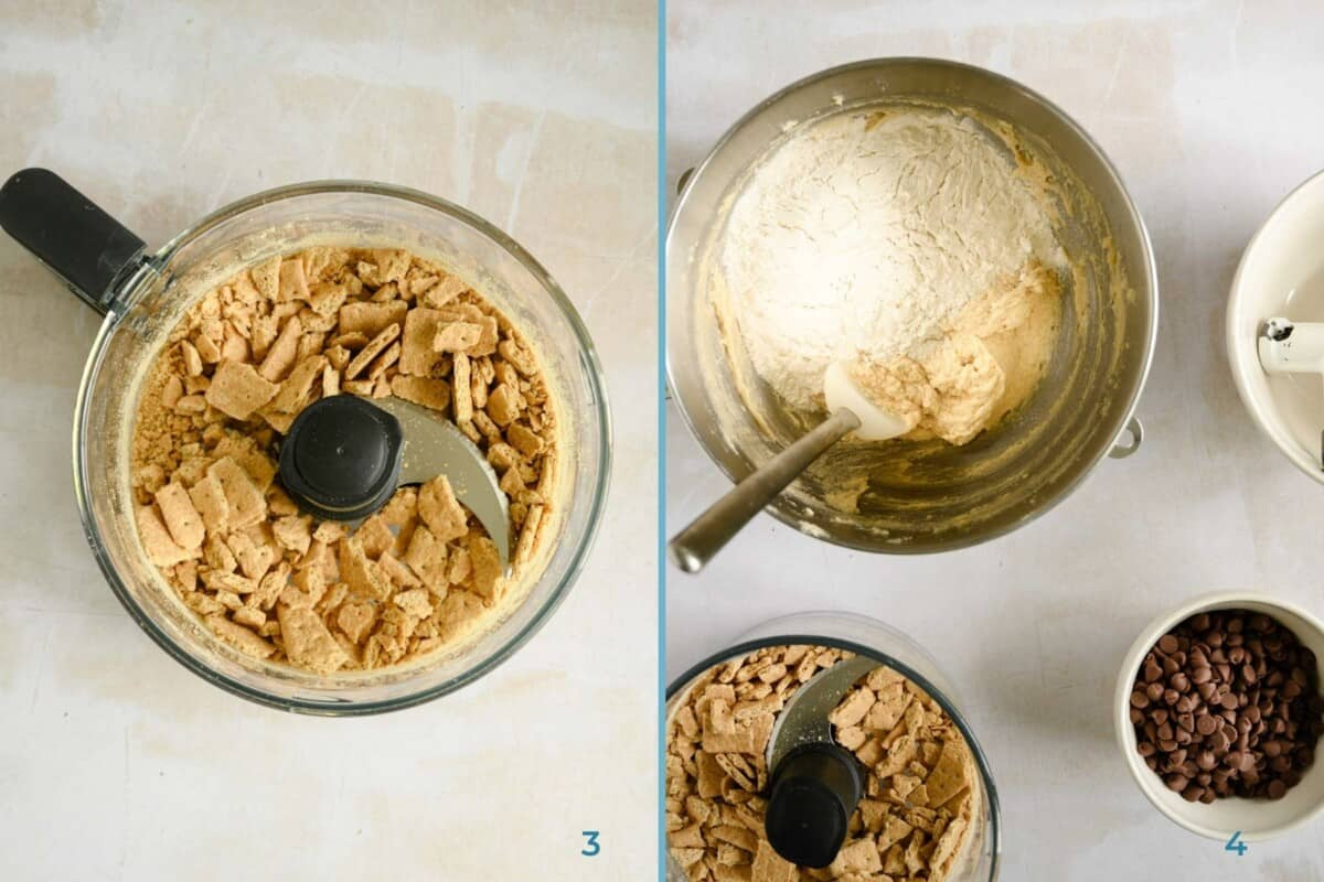 food processor with graham crackers and a mixing bowl with cookie dough and chocolate chips
