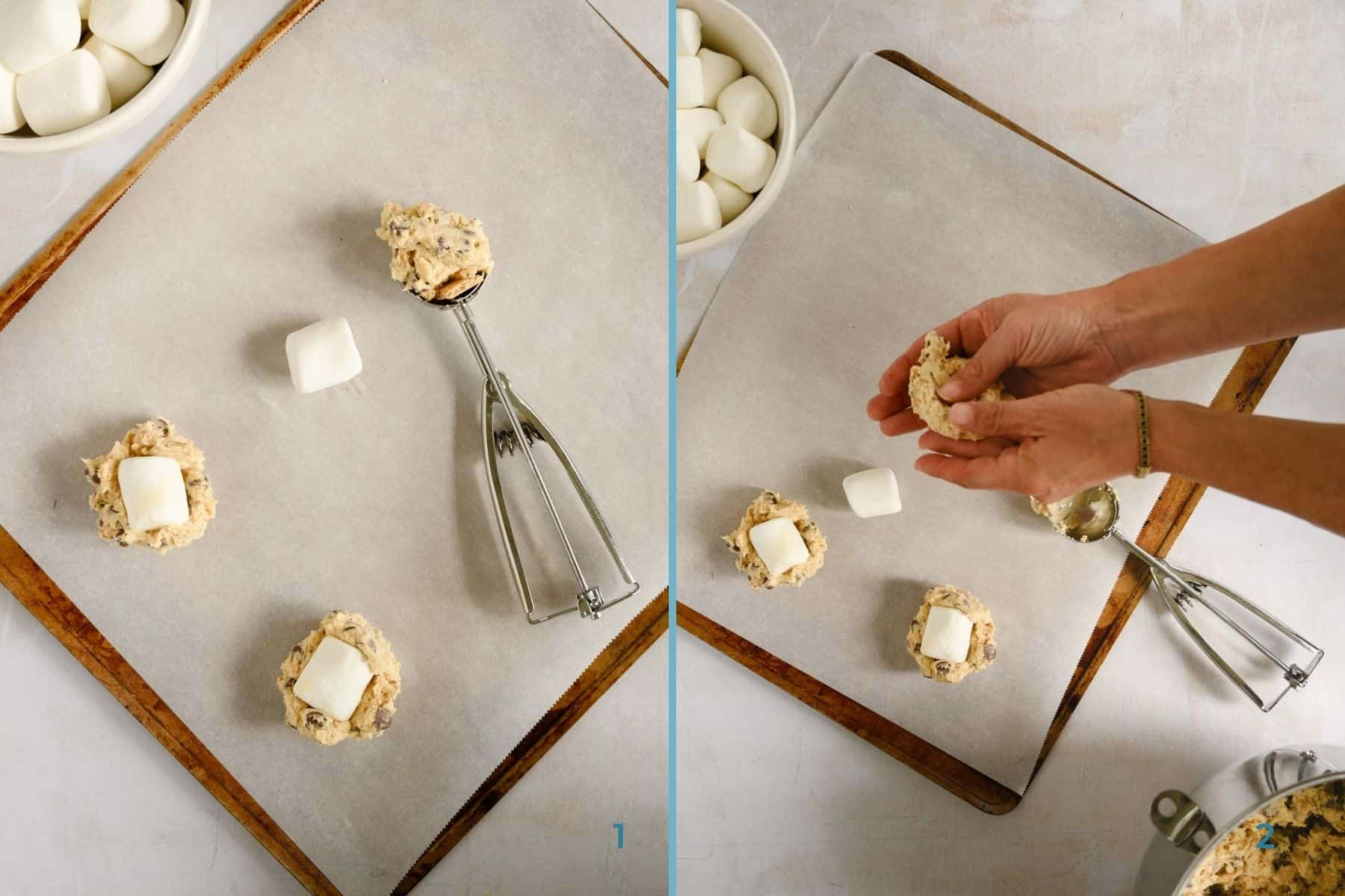process shots of forming chocolate and marshmallow cookies with a cookie scoop on a baking sheet
