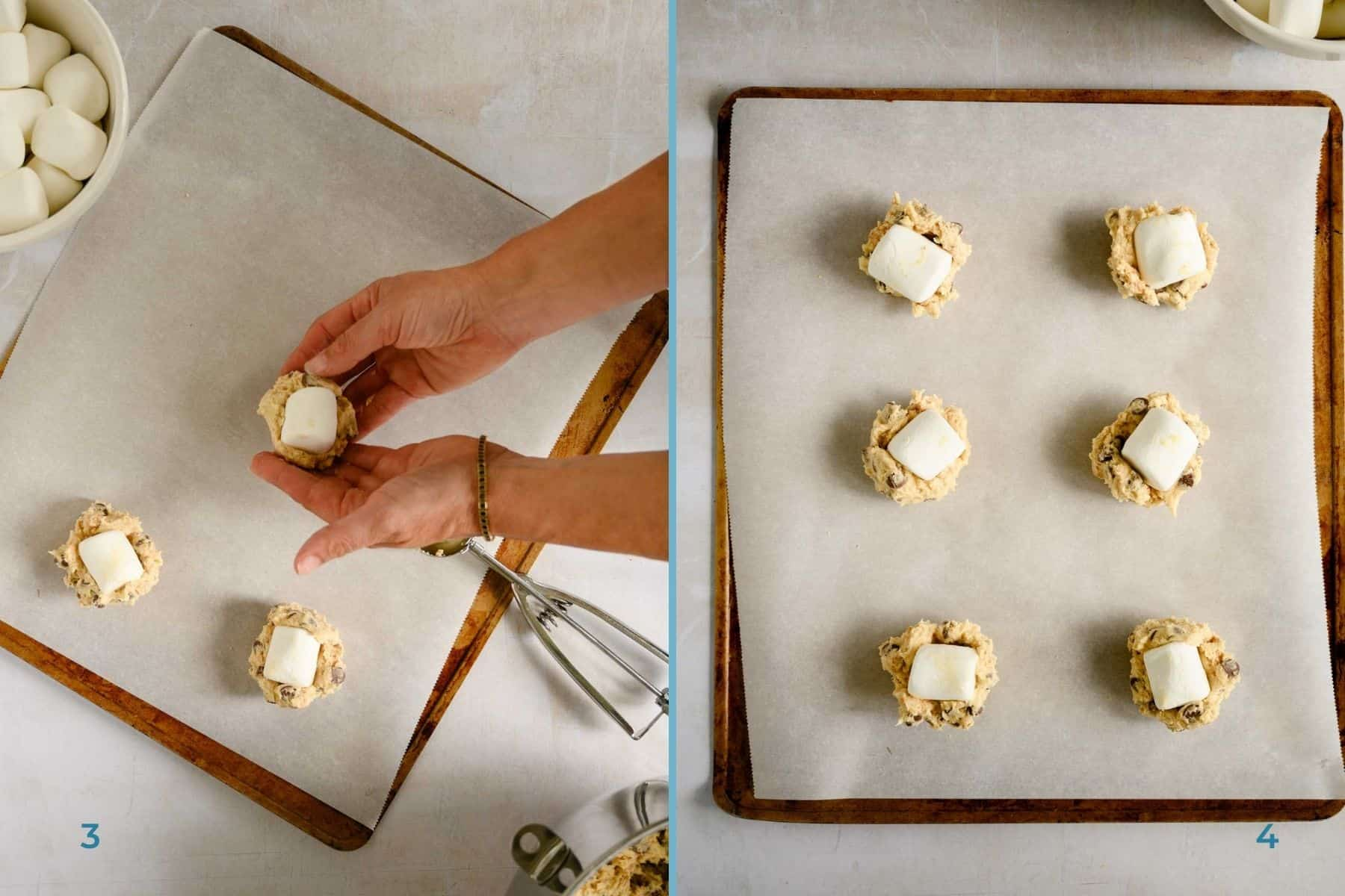 hands forming cookie dough around a marshmallow and a tray of marshmallow topped cookie dough