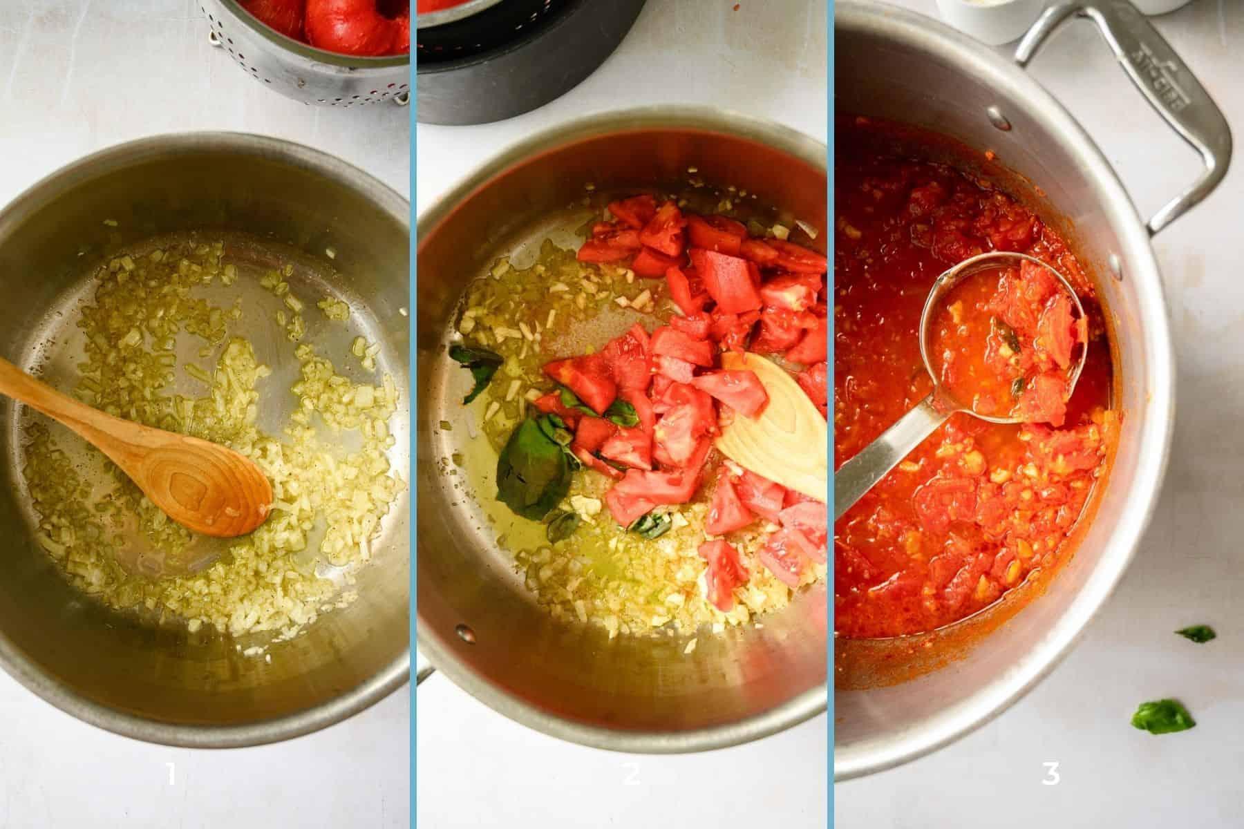 three pots of sauteed onions, tomatoes and homemade marinara sauce