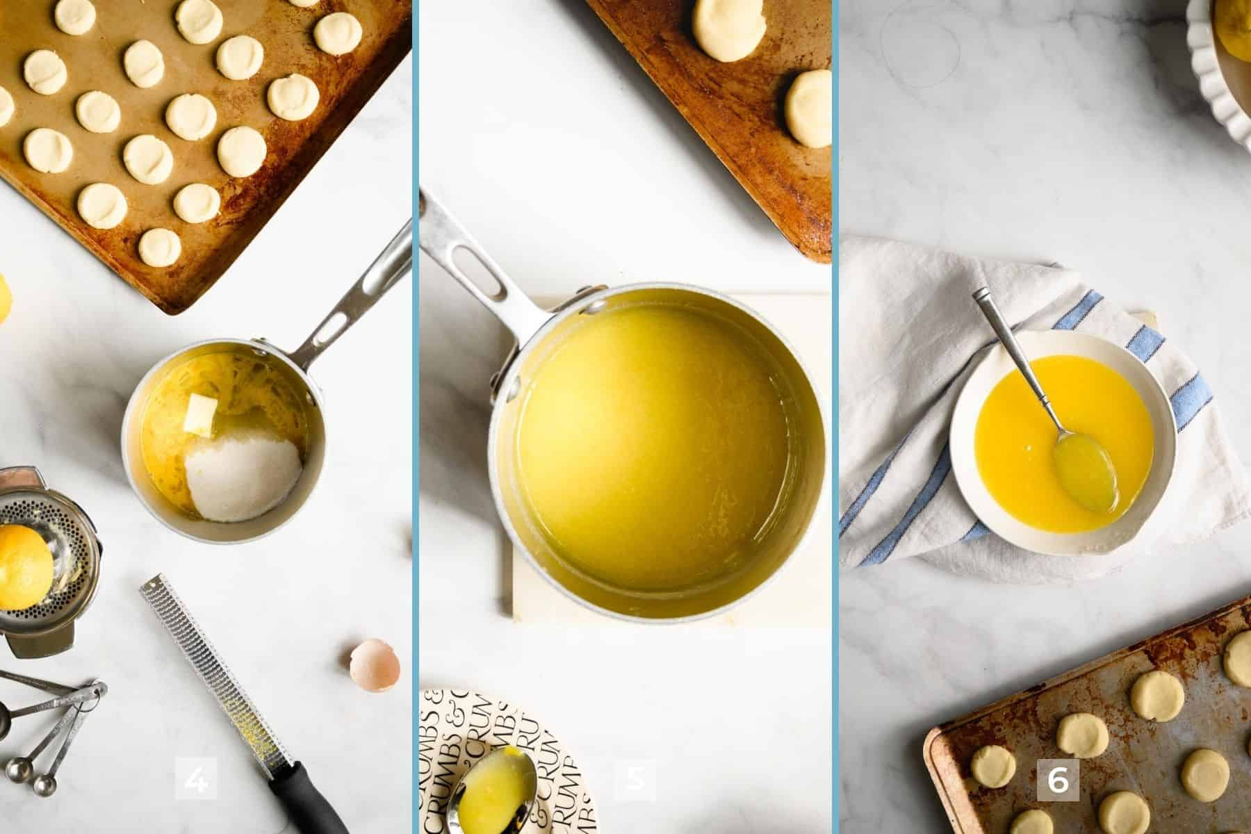 three steps to filling thumbprint cookies with lemon curd.