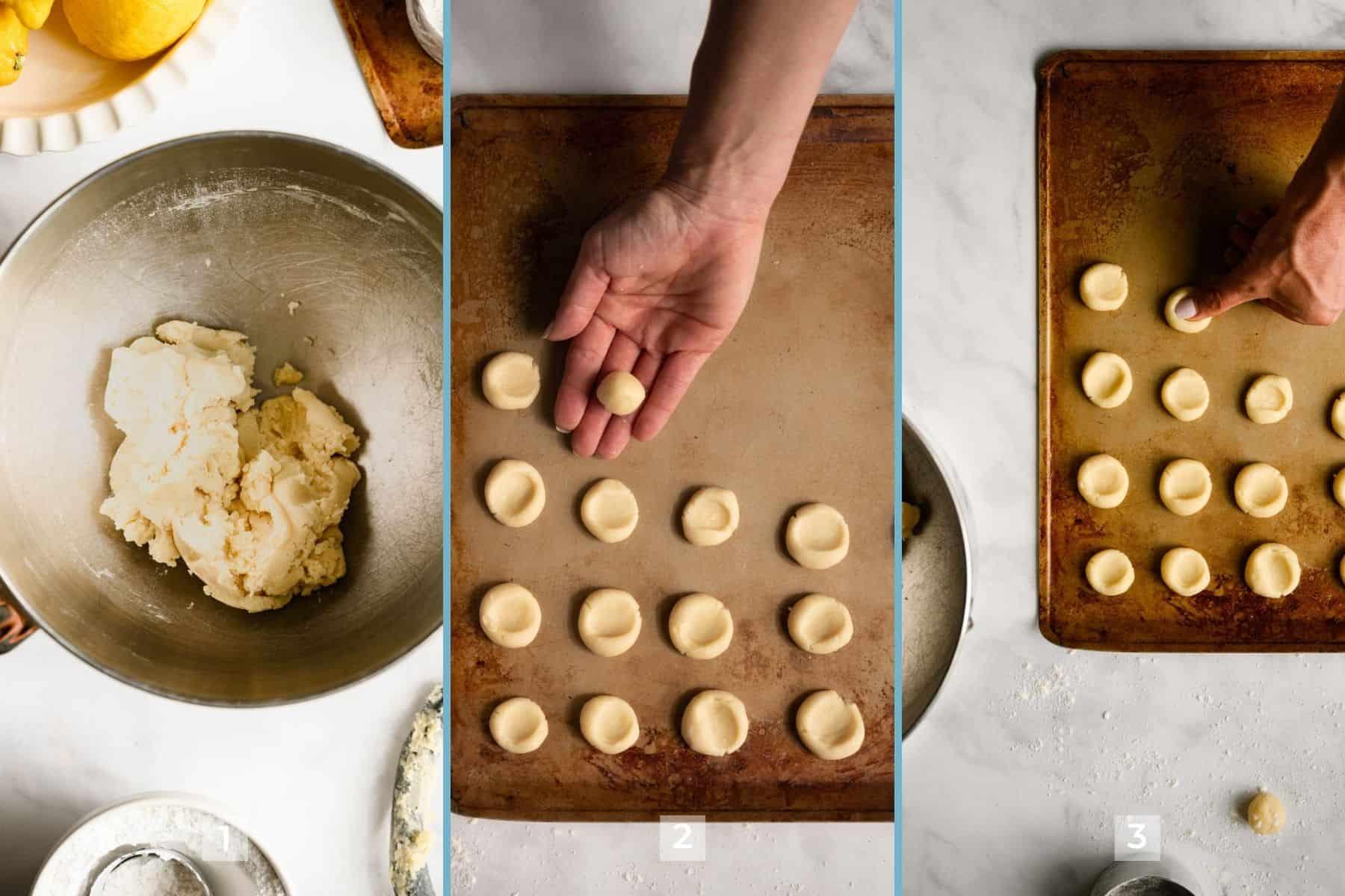 three steps to make thumbprint cookies.